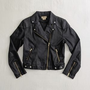 Waxed denim moto jacket